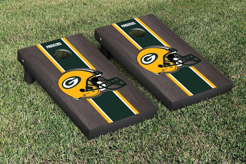 NFL Green Bay Packers Onyx Stained Stripe Version Football Cornhole Game Set, 24'' x 48'', Multicolor by Victory Tailgate (Image #1)