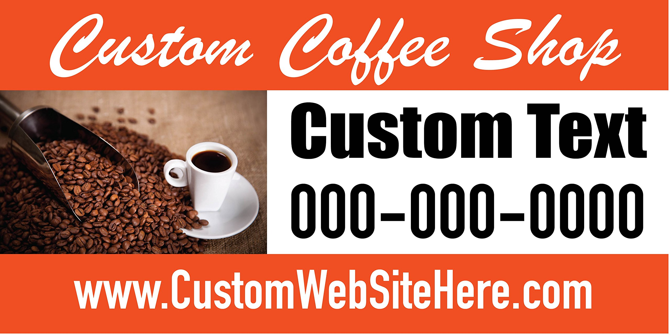 Custom Printed Coffee Shop Banner - Beans Orange(10' x 5')