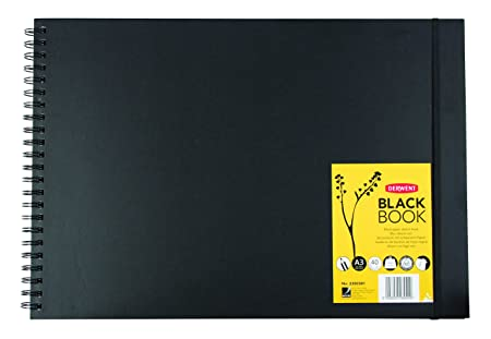 Derwent Black Book Hard Back Sketch Book with Black Paper (A3 Landscape) Drawing Pads & Books at amazon