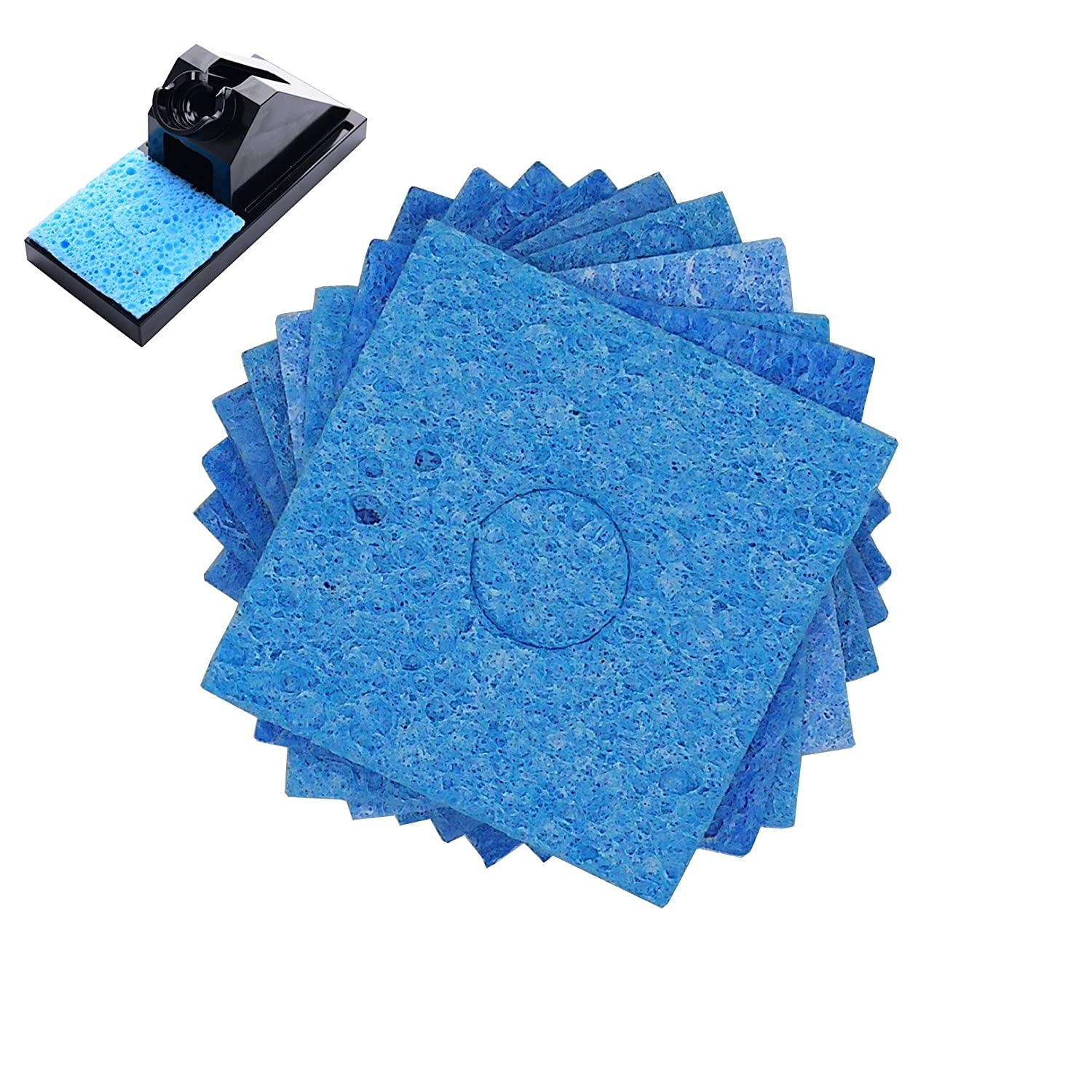 BCQLI 10 Pcs Soldering iron special high temperature sponge, With holes 60mm x 60mm x 1mm, Blue
