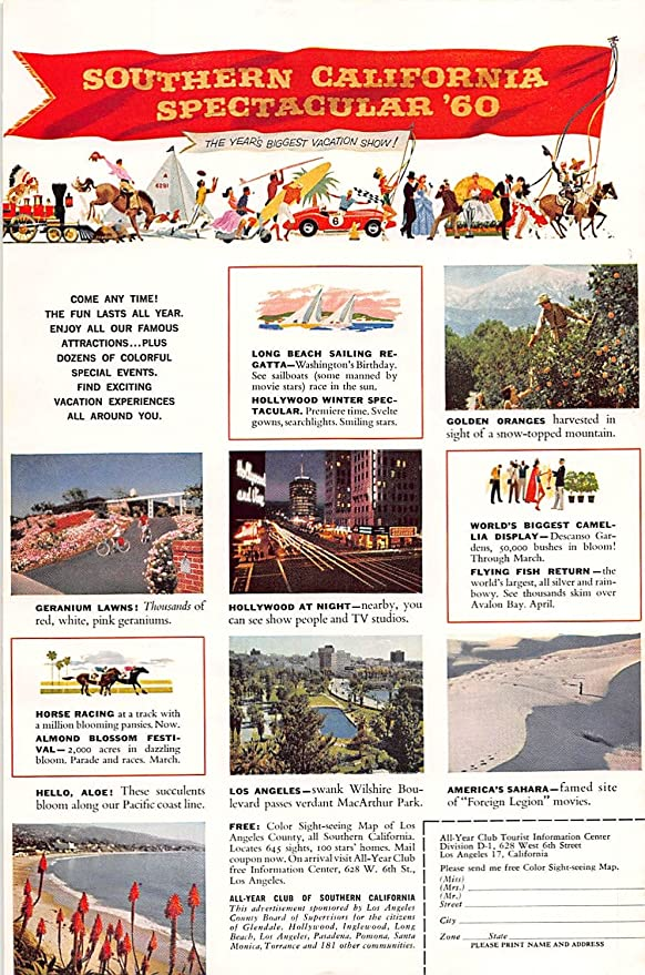 Amazon Com Print Ad 1960 Southern California Spectacular 60 Come Any Time The Fun Lasts All Garden Outdoor