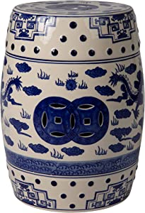 Patio Sense Small Double Medallion Dragon Ceramic Indoor/Outdoor Garden Stool, Side Sofa Table in Blue and White (63613)