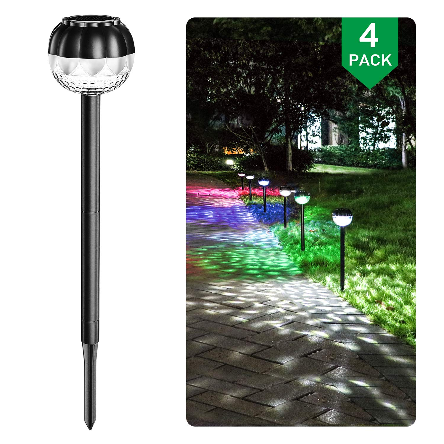 GOSHELL Solar Landscape Lights Outdoor Solar Pathway lights, Super Bright, High Lumen, IP65 Waterproof, 7- Color changing, LED Solar Garden Lights Decorative for Yard Pathway Walkway Lawn Patio by GOSHELL
