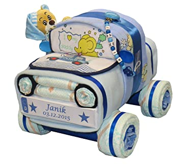 Tarta de pañales, coche de pañales con oso y cadena para ...