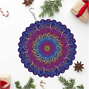 Wind Spinners Outdoor Metal Decorations   Stainless Steel Ornament for National Flower Rose Mandala Garden Home Decor   Multi Color Metal Sun Catcher Boho Art for Tree Hanging, Backyard