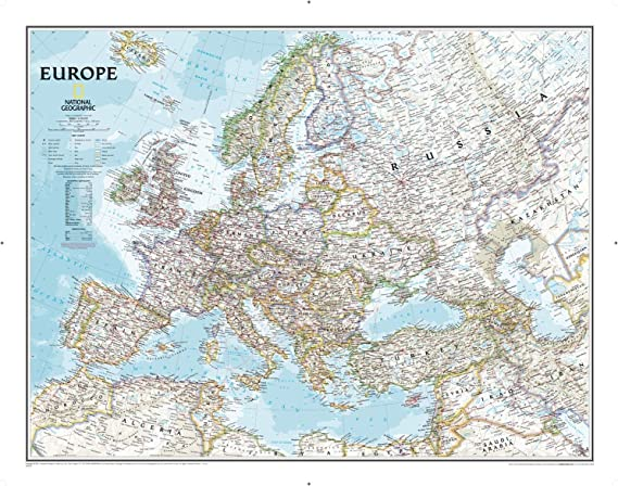 National Geographic: Europa Classic - Mapa de pared político (30,4 x 61 cm): Amazon.es: Hogar