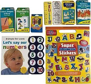 Libro de números de 2 a 4 años, con 4 tarjetas de