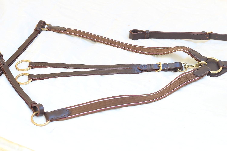 equipride alta calidad piel 3punto caza breastplae elástica marrón Pony