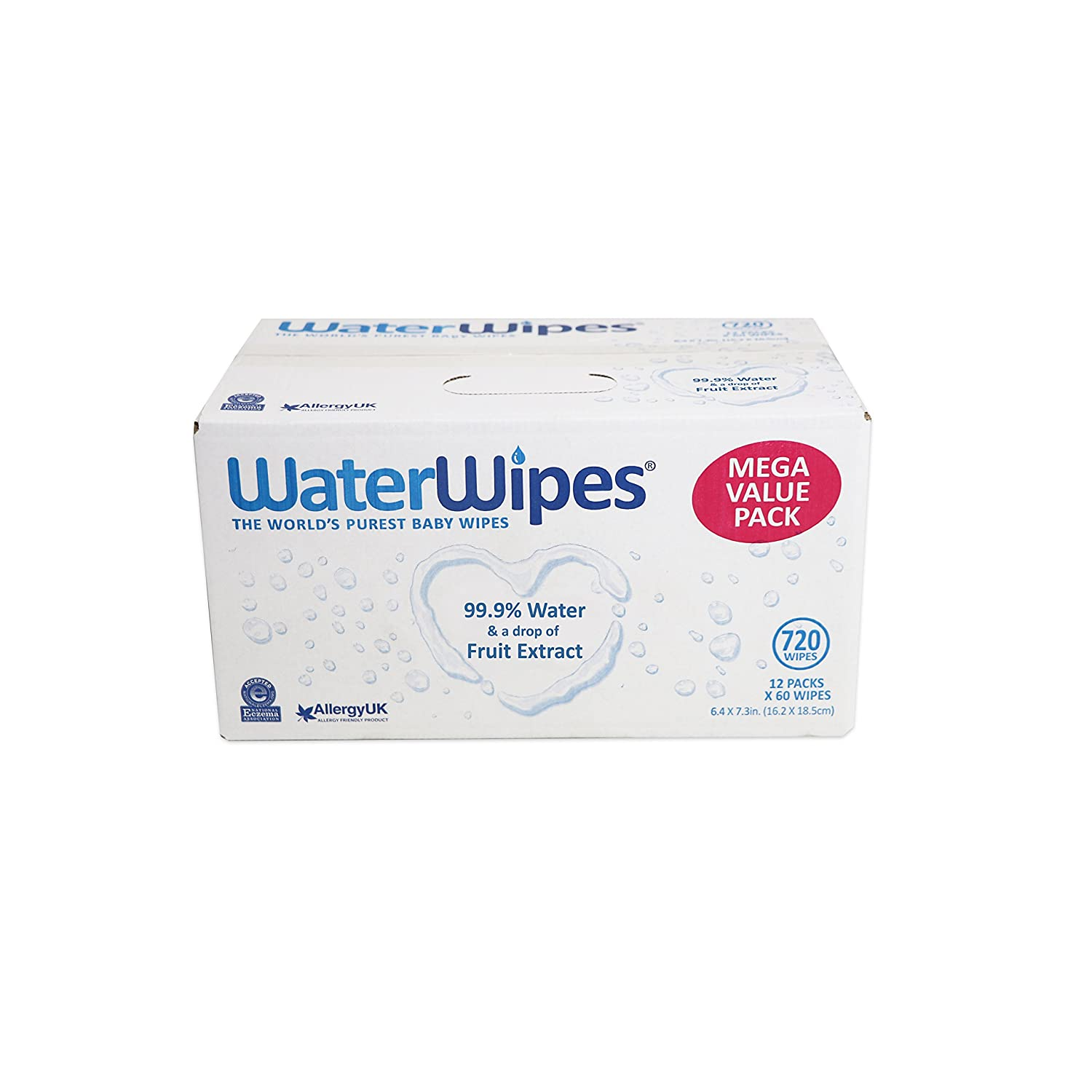 WaterWipes Baby Wipes Super Value Box, 12 x 60 Wipes (Total 720 Wipes) by WaterWipes: Amazon.es: Salud y cuidado personal