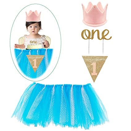7d1ebbde8f70 1st Birthday Decorations Set - 1st Birthday Baby pink Tutu Skirt for High  Chair, &quot