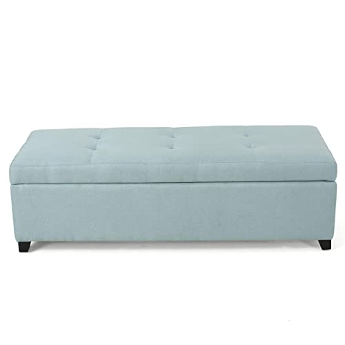 Christopher Knight Home Living Garrtag Light Blue Fabric Storage Ottoman