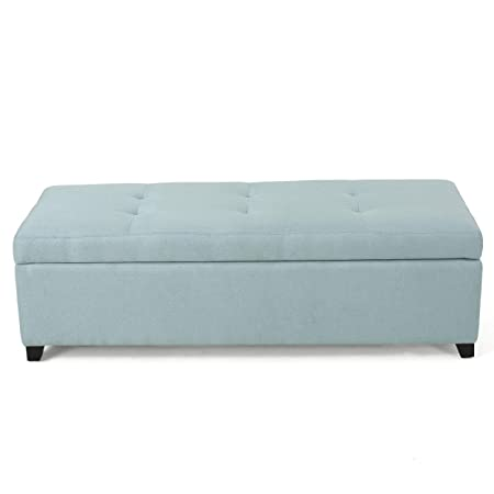 Christopher Knight Home 298891 Living Garrtag Light Blue Fabric Storage Ottoman,