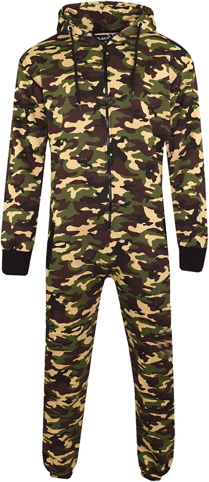 Denim State Mens Aztec Plain Unisex Onesie Full Camouflage Print Zip Up All in One Hooded Army Camo Jumpsuit