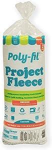 "Fairfield Poly- Fleece Polyester Batting Twin Size, 72"" x 90"", White"