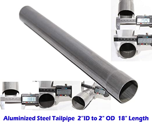 3ID to 3OD 18 Length Straight Exhaust Pipe Extension Tube Aluminized Steel Tailpipe