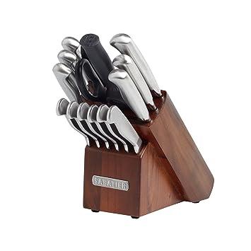 Sabatier 15 Piece Stainless Steel Hollow Handle Knife Block Set Acacia