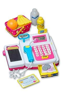 Eddy Toys Spielkasse als Kaufladen Zubehör, Kinder Spielzeug, mit funktionsfähigen Eingabefeld, Scanner, Geldfach & vieles me