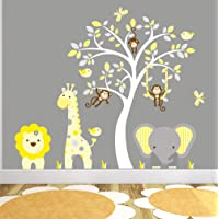 Safari Wall Stickers featuring Giraffe, Elephant, Lion and Monkeys around a White Tree Mural. Yellow and Grey Nursery Wall Decals, Gender Neutral Decor