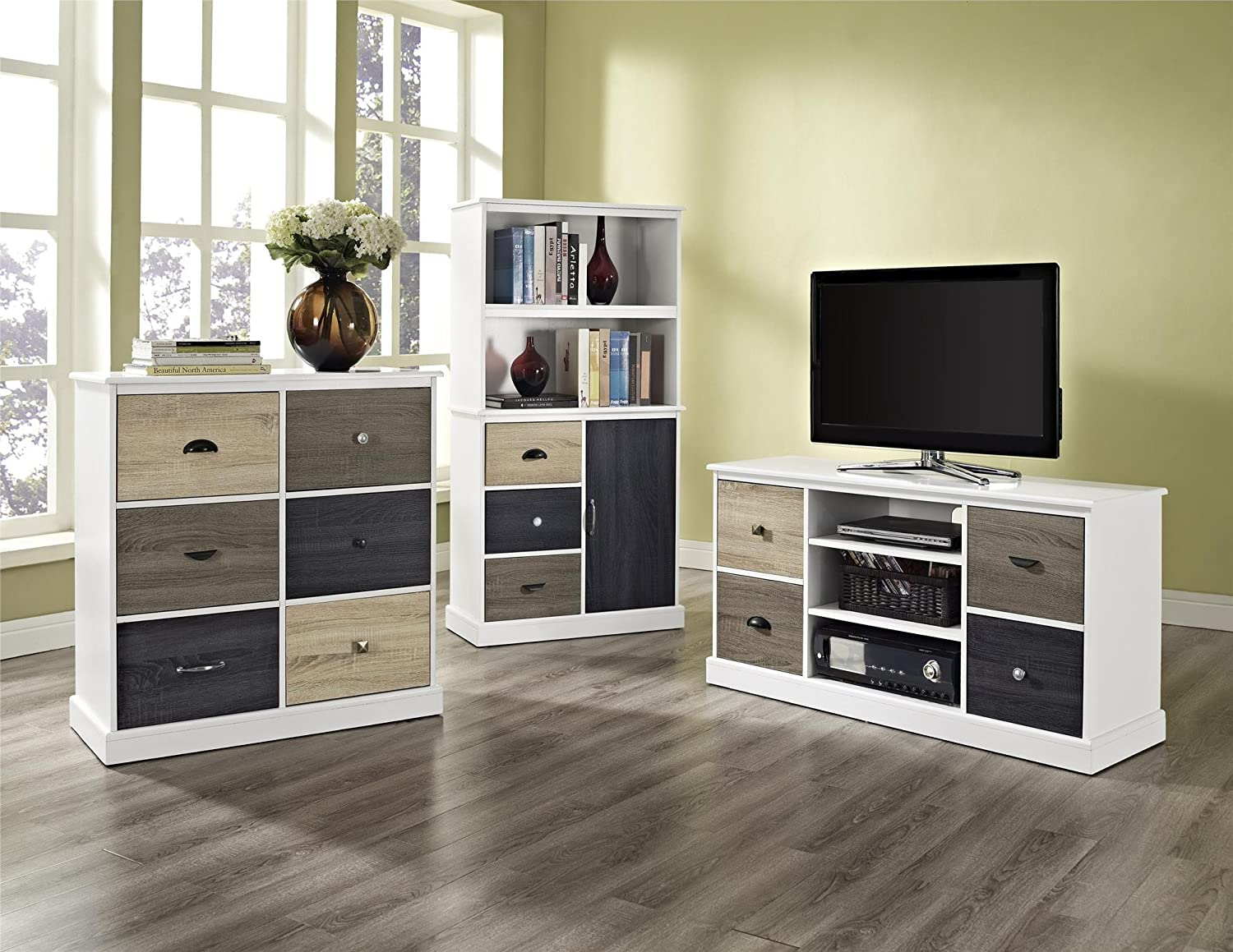 Ameriwood Home 9634096 Mercer Storage Bookcase with Multicolored Door and Drawer Fronts White Dorel Home Furnishings