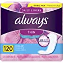 120 Count Always Thin Daily Liners, Regular Absorbency, Unscented, Wrapped
