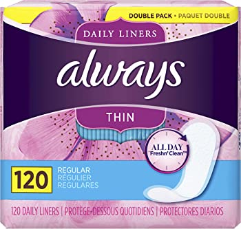 120-Count Always Thin Daily Liners, Regular Absorbency, Unscented, Wrapped