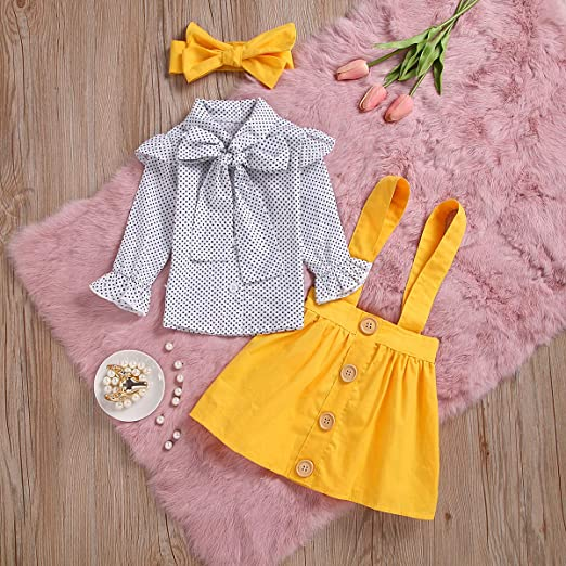 eb2e11c76ba Amazon.com  Toddler Baby Girl Elegant Dot Print Bowknot Shirt + Pure Yellow  Overall Dress Girls Princess Suspender Skirts Set  Clothing