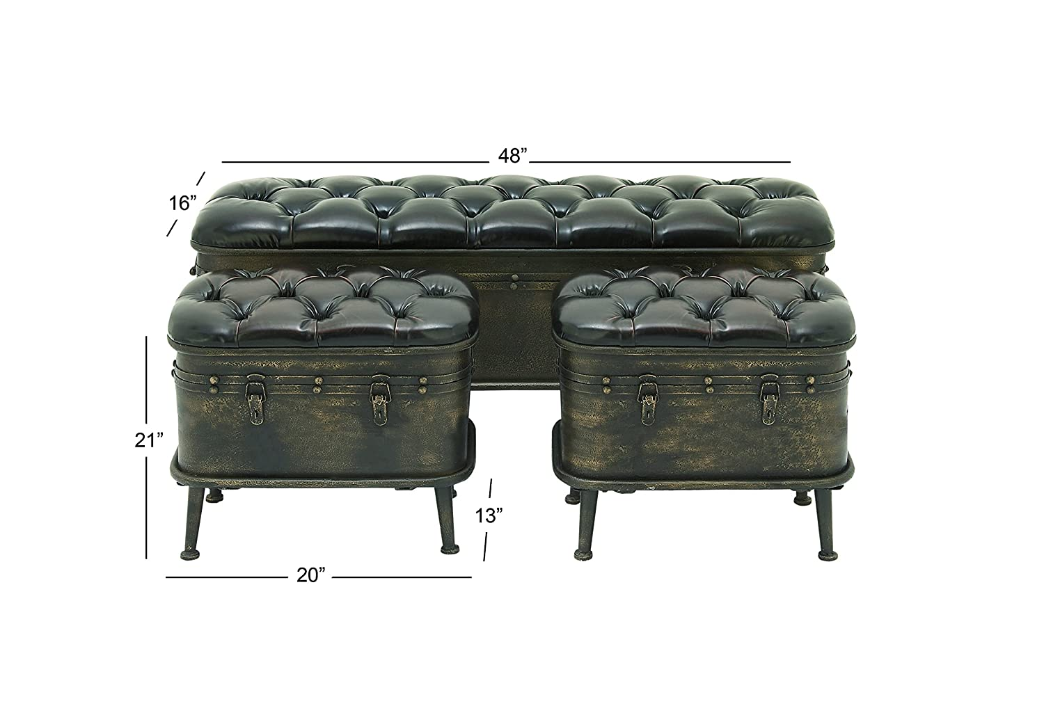 Deco 79 57783 Vintage Dark Brown Iron Leather Cushioned Storage Benches with Iron Feet Set of 3