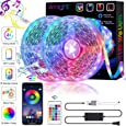 Smart WiFi LED Strip Lights Works with Alexa, Google Home Brighter 5050 LED, 16 Million Colors Phone App Controlled Music Light Strip for Home, Kitchen, TV, Party, for iOS and Android, 32.8ft
