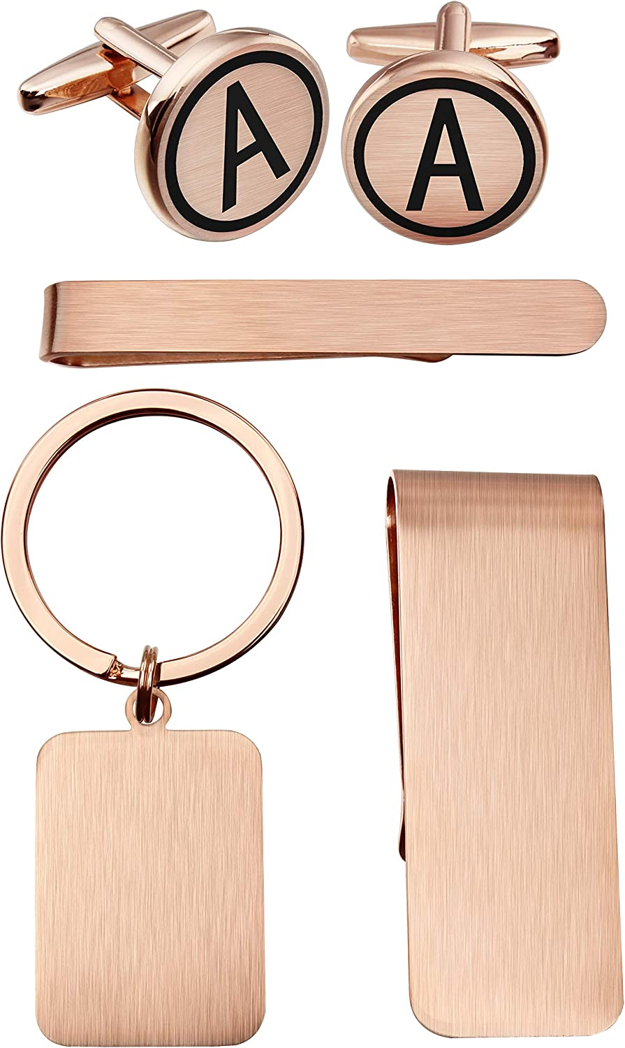 HAWSON Money Clip Keychain Engraved Initial Cufflinks and Tie Clip Bar Set for Men with Rose Gold Personalized Initial Alphabet Letter A-Z