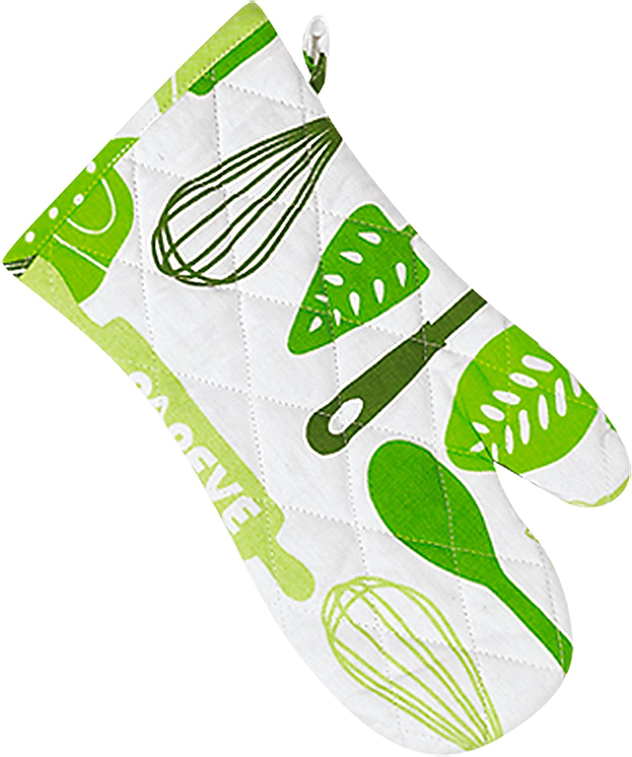 """Parve Green Oven Mitt – Pot Holder Glove – 100% Cotton – Hanging Loop for Easy Storage - 13"""" x 6"""" - Color Coded Kitchen Tools by The Kosher Cook"""