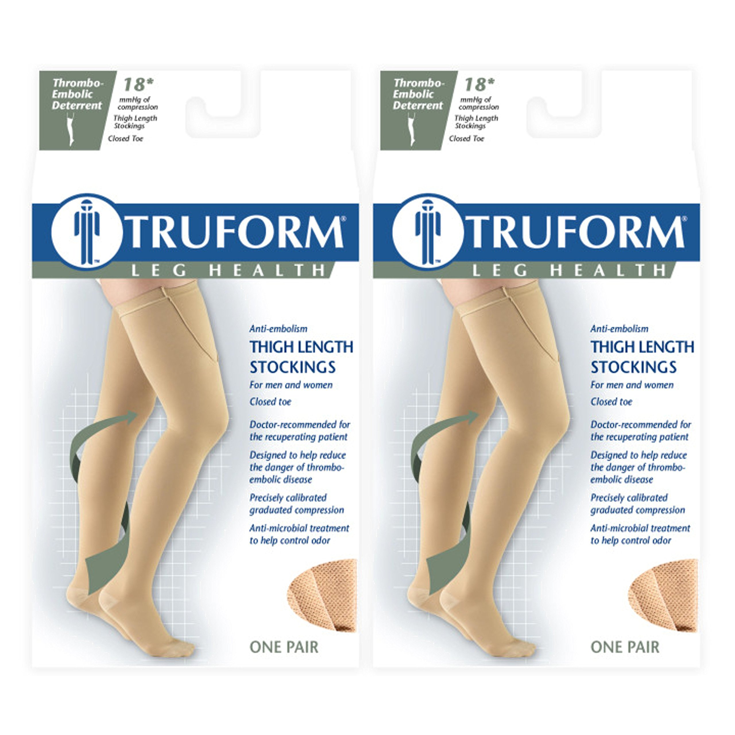 Truform Anti-Embolism 18 mmHg Thigh High Stockings Black, Large, 2 Count