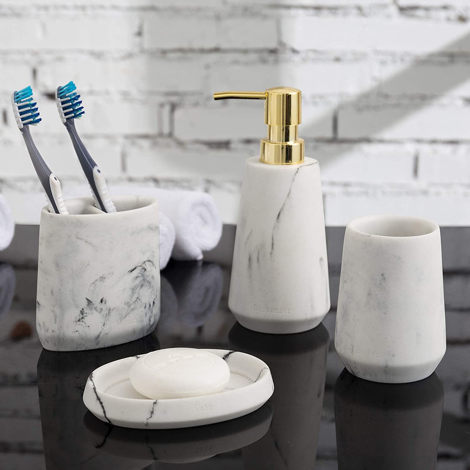 MyGift 9-Piece Modern White Marble & Brass Tone Bathroom Accessory Set with  Soap Dish, Dispenser, Toothbrush Holder and Tumbler