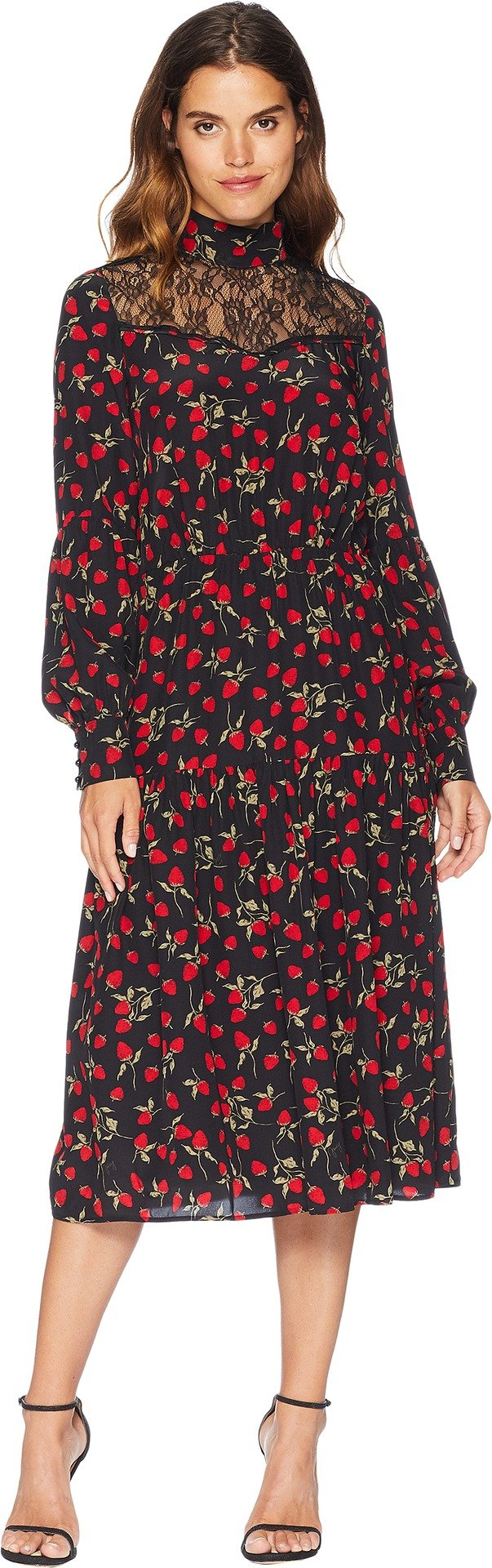 Juicy Couture Women's Strawberry Print Silk Midi Dress Pitch Black Strawberry Fields Large