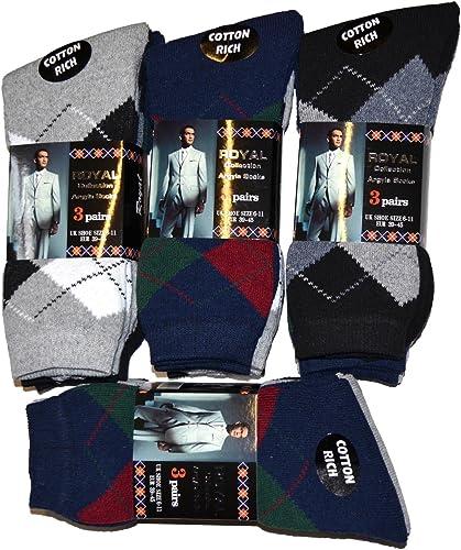 New Mens Argyle Diamond Cotton Rich Office Socks Calf Length Golfing UK 6-11