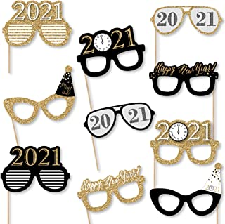 product image for Big Dot of Happiness New Year's Eve Glasses - Gold - 2021 Paper Card Stock New Year's Party Photo Booth Props Kit - 10 Count