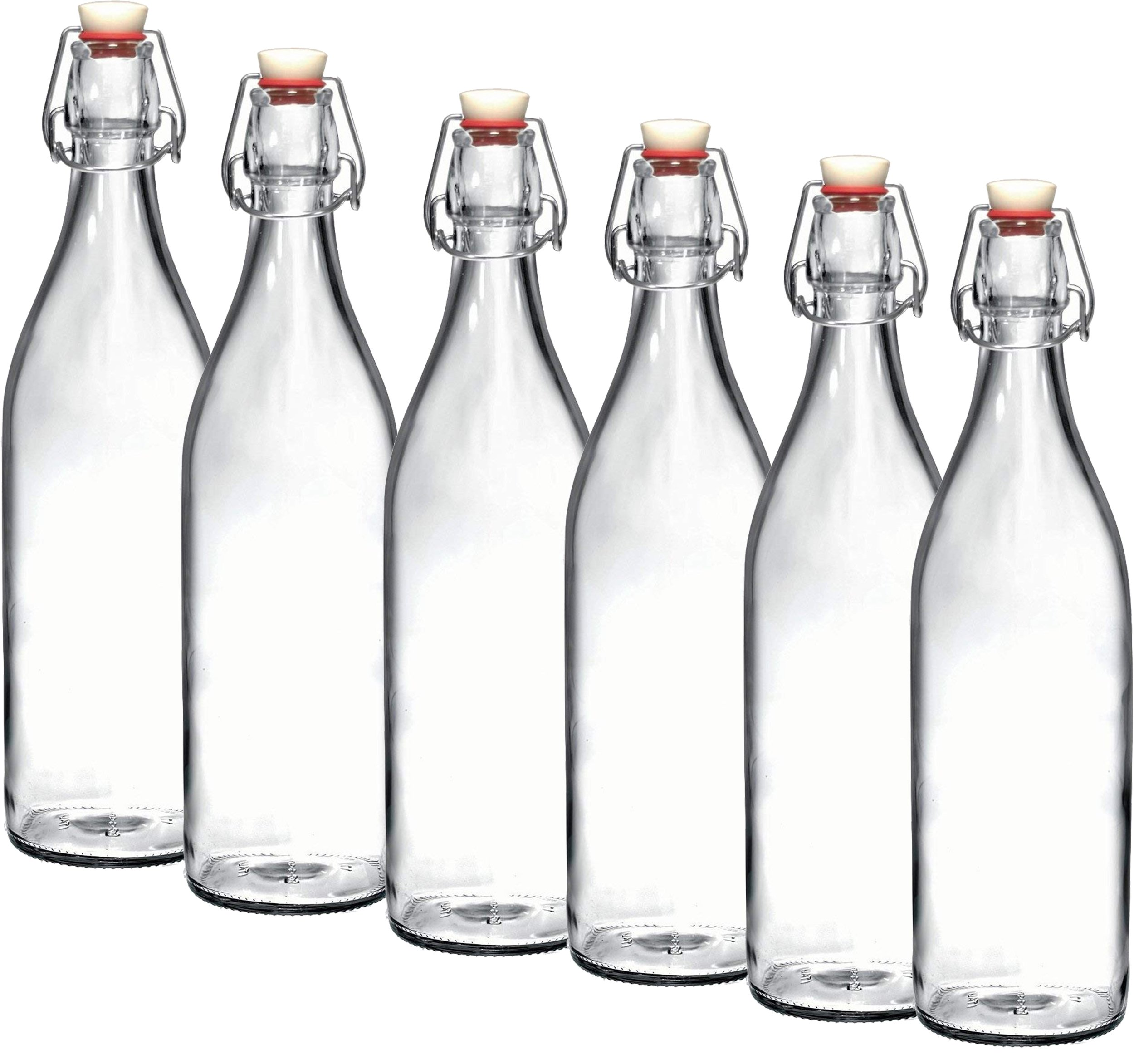 Bormioli Rocco Giara Clear Glass Bottle With Stopper Swing Top Bottles Great for Beverages, Oil, Vinegar | 33 3/4 oz (Set of 6)