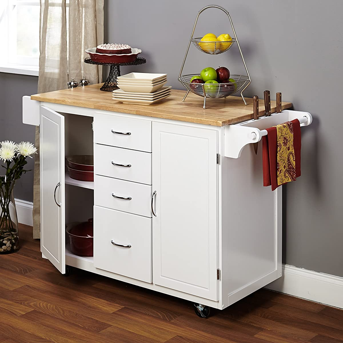 Target Marketing Systems Two-Toned Country Cottage Rolling Kitchen Cart with 4 Drawers, 2 Cabinets, 1 Towel Rack, 1 Spice Rack, and an Adjustable Shelf, White/Natural