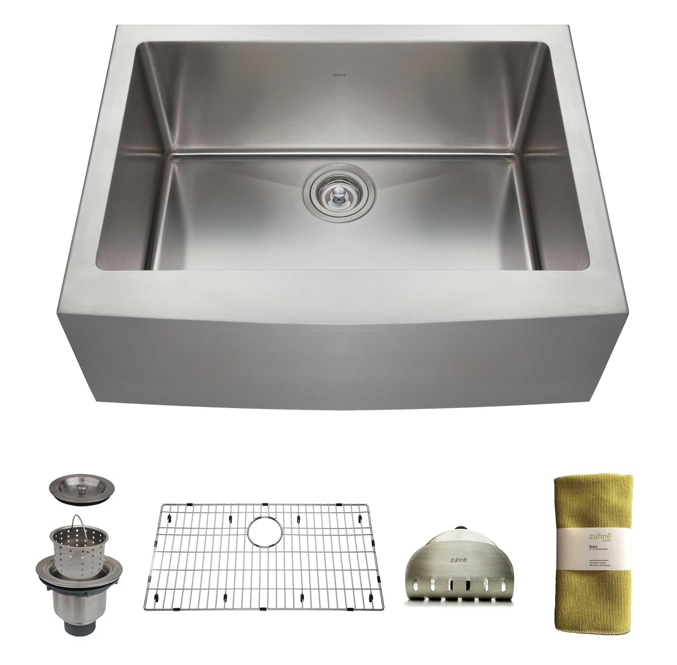 zuhne 24 inch farmhouse apron deep single bowl 16 gauge stainless steel luxury kitchen sink 813tky1oasl jpg  rh   chickadeesolutions com