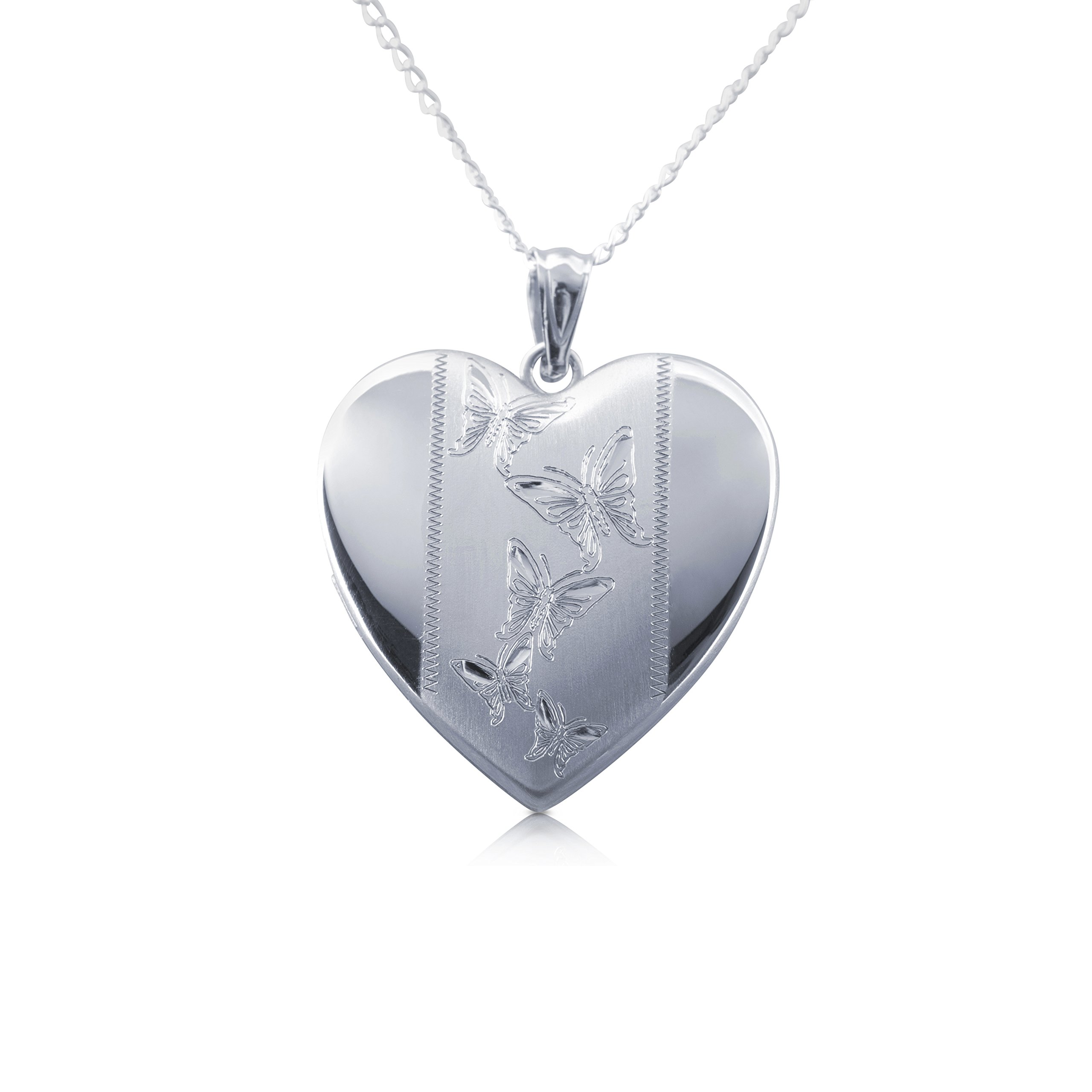 Butterfly Heart Photo Locket Pendant, Sterling Silver with Necklace Chain by Silver on the Rocks