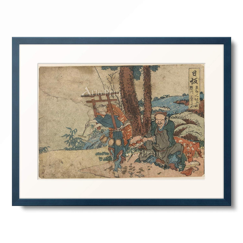 葛飾北斎 Katsushika Hokusai 「東海道五十三次 日坂」 額装アート作品 L(額内寸 509mm×394mm) 10.木製額 13mm(青) B07PTZ1JDG