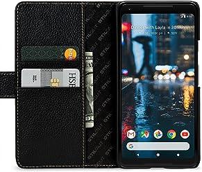 StilGut Talis Case, Custodia per Google Pixel 2 XL in Pelle Cover a Portafoglio. Chiusura a Libro Flip-Case in Vera Pelle Fatta a Mano, pratiche Tasche per Carte di Credito, Nero
