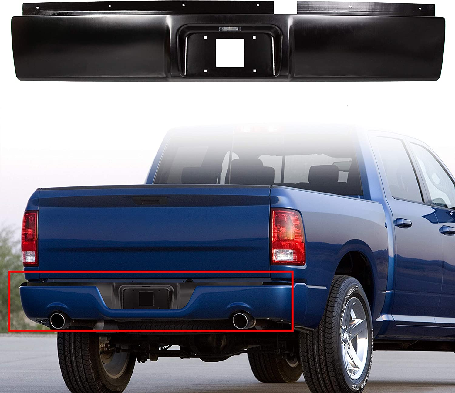 2003-2009 2500 3500 Pickup HECASA Rear Steel Roll Pan Rollpan Compatible with 2002-2008 Dodge Ram 1500