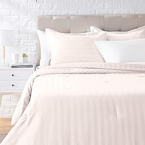 AmazonBasics Woven Damask Stripe Comforter Set - Premium, Soft, Easy-Wash Microfiber - Full/Queen, Off White