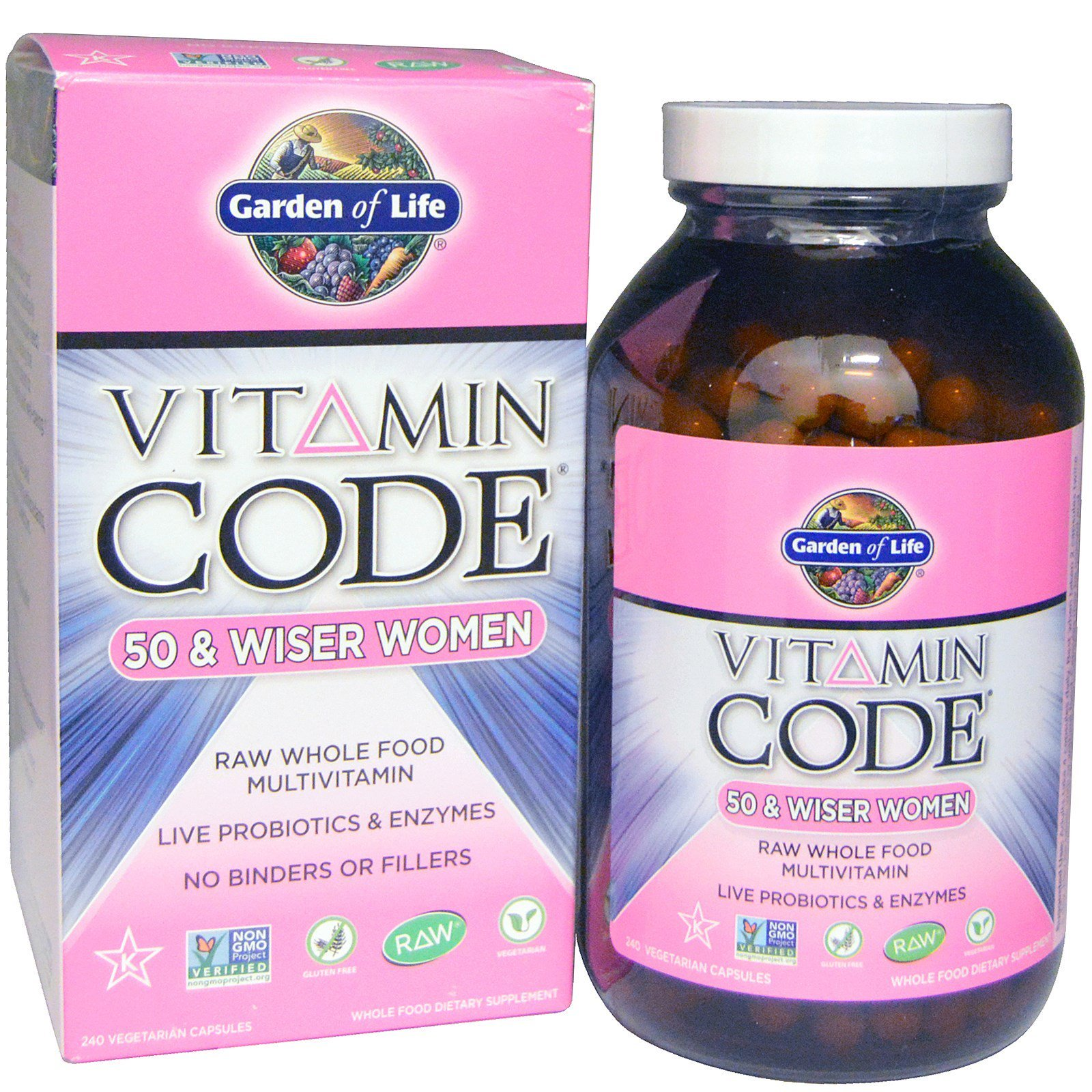 Garden of Life, Vitamin Code, 50 & Wiser Women, Raw Whole Food Multivitamin, 240 Veggie Caps