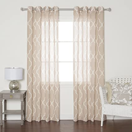 Best Home Fashion Taupe Sheer Moroccan Print Grommet Top Curtain 84quot