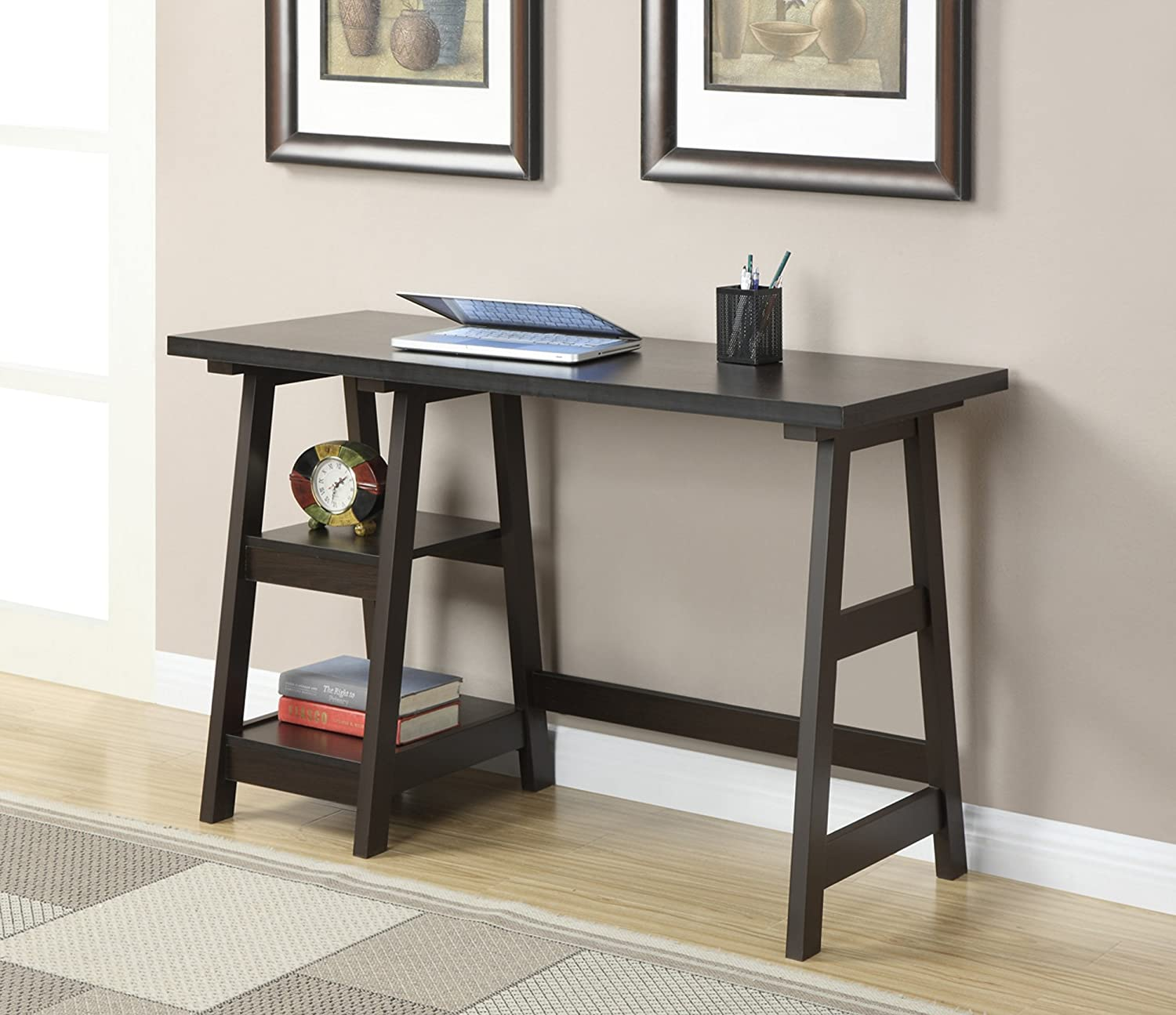 Amazoncom Convenience Concepts DesignsGo Trestle Desk Espresso - Wayfair trestle table