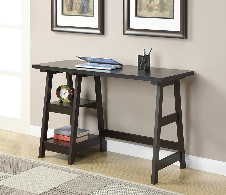 Amazoncom Convenience Concepts DesignsGo Trestle Desk Espresso - Wayfair trestle table