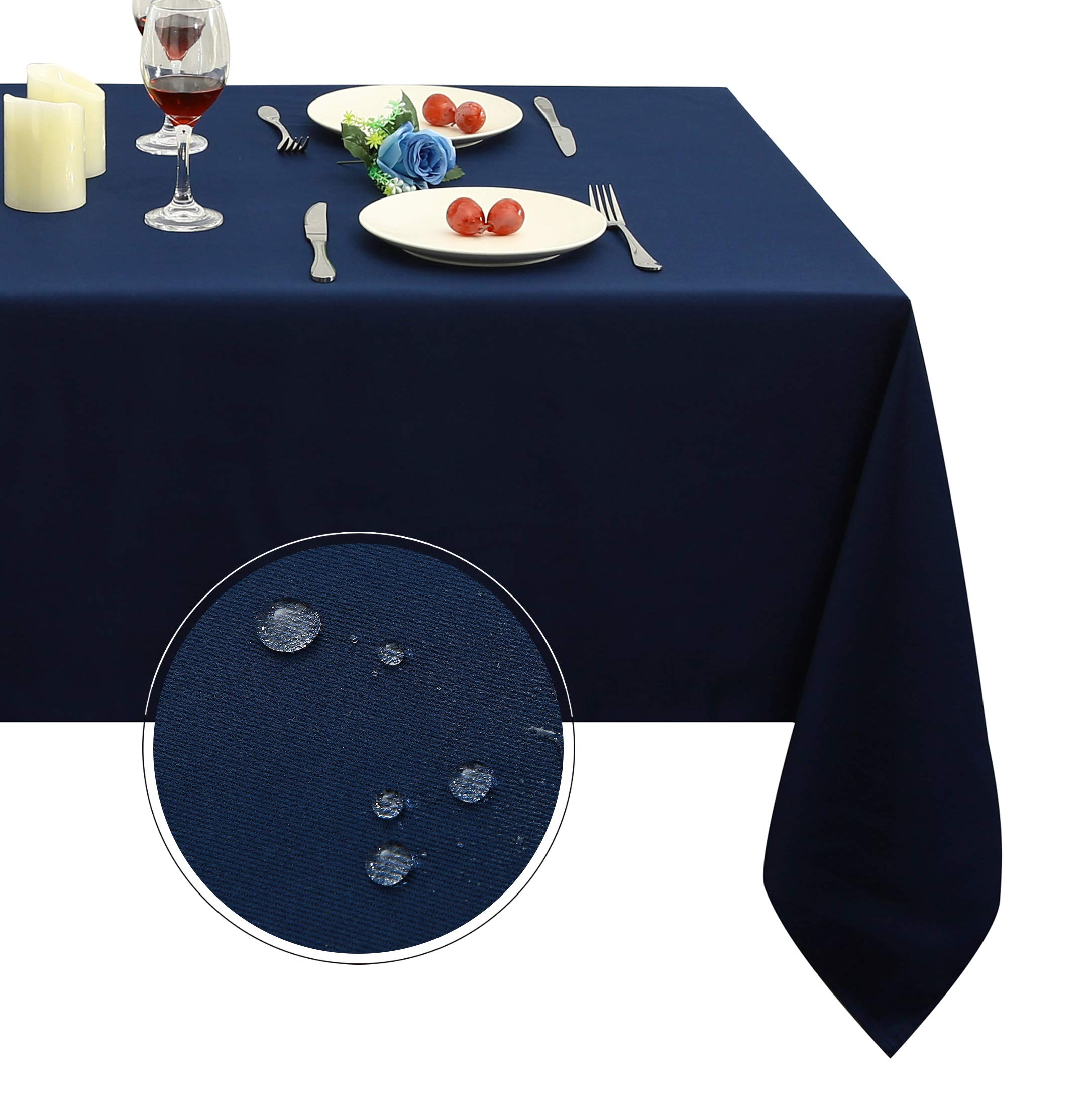 Obstal Rectangle Table Cloth, Oil-Proof Spill-Proof and Water Resistance Microfiber Tablecloth, Decorative Fabric Table Cover for Outdoor and Indoor Use (Navy Blue, 60 x 84 Inch) by Obstal (Image #1)
