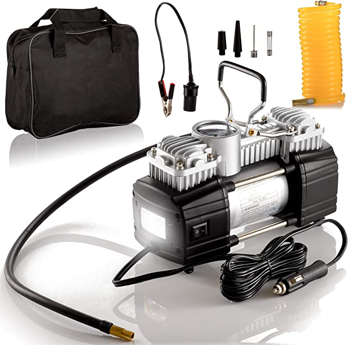 Portable Double Cylinder Air Compressor Tire Inflator with LED Flashlight 12V
