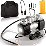 Portable Double Cylinder Air Compressor Tire Inflator with LED Flashlight, 12V Compact Air Pump for Car Tires, 150 PSI…